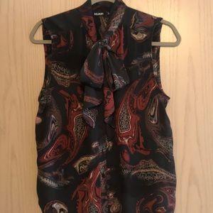 Paisley Sleeveless Tie Blouse